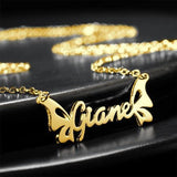 18K Gold Plated Personalized Butterfly Name Necklace
