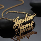 18k Gold Two Names Pendant Name Necklace 14-22'