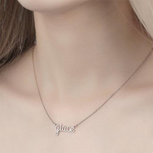 Personalized Name Necklace, Lower Case Letter Necklace 18K Plated Gold