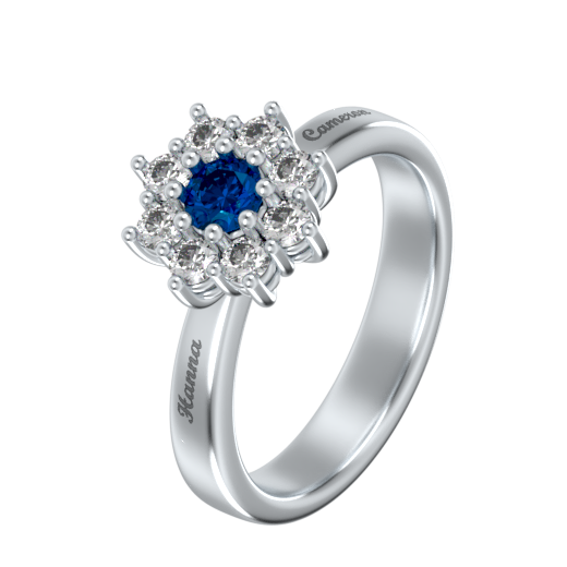 Engraved Flower Ring With Birthstone