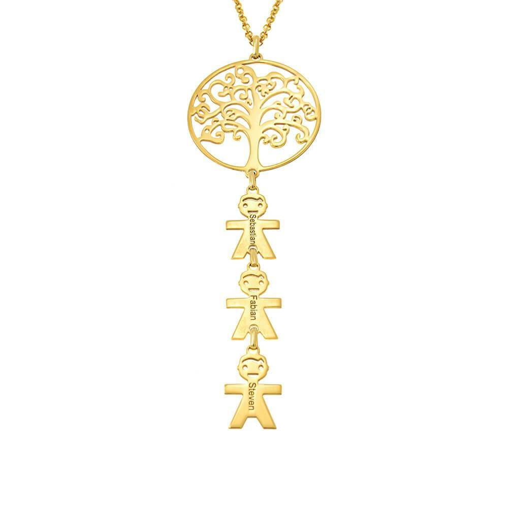 Vertical Tree Of Life Necklace With Kids