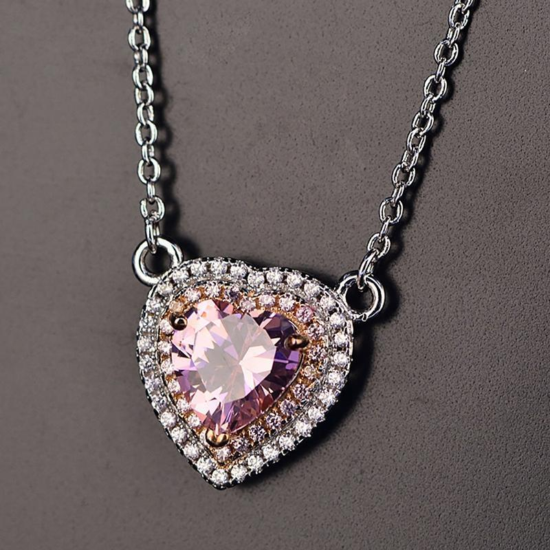 Heart Pendant Sterling Silver Pink Artificial Sapphire Necklace