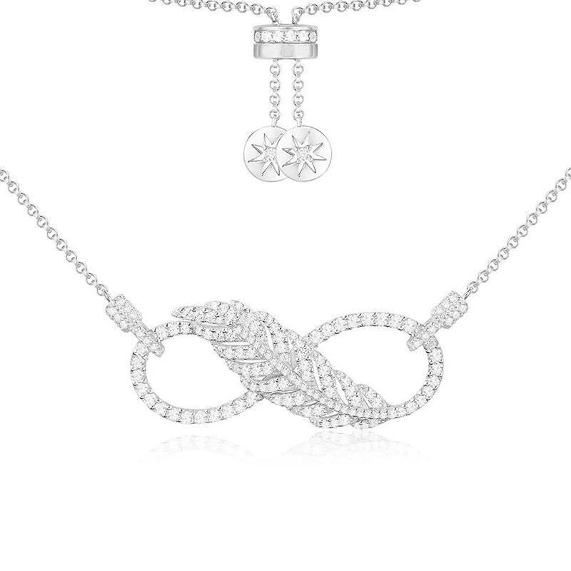Feather Infinity Shaped Pendant Sterling Silver Necklace