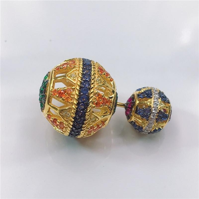 Round Ball Shaped 925 Sterling Silver Multi Color Artificial Sapphire Stud Earring