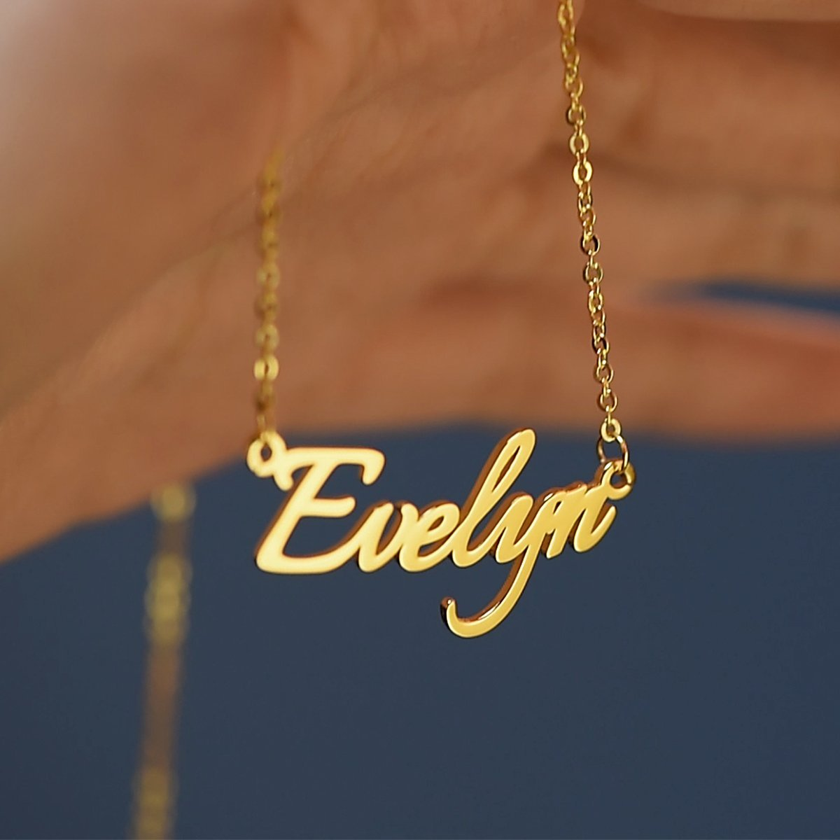 18K Gold Custom Engrave Name Necklace Gift For Girls