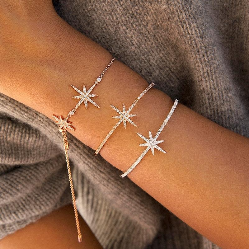 Star Sterling Silver Adjustable Bracelet