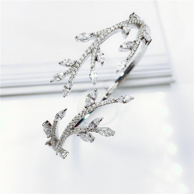 Dainty Sterling Silver Leaf Opening Bangle Created Diamond Bracelet
