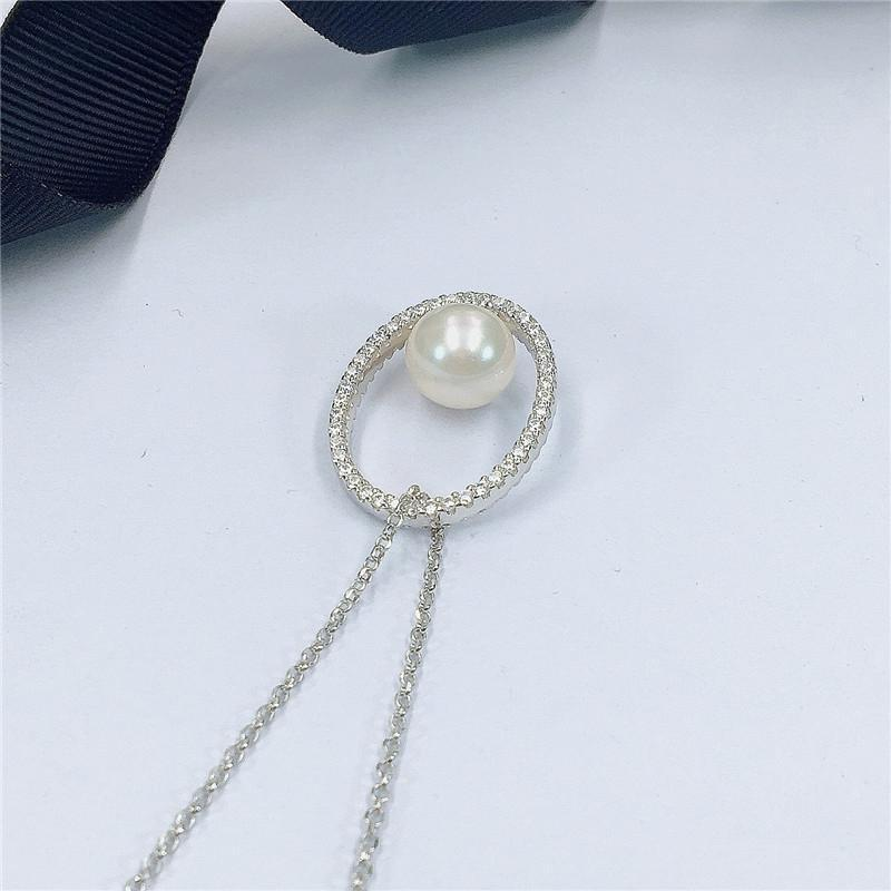 Round Pearl Pendant Sterling Silver Necklace