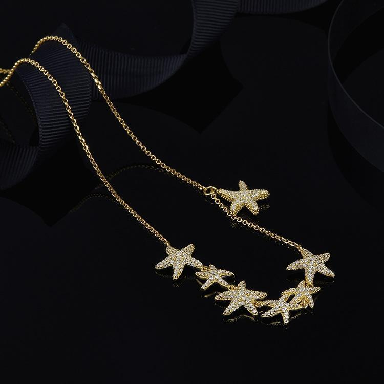 Dainty Starfish Five-pointed Star Shaped Pendant 925 Silver Long Drop Necklace
