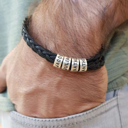 Silver Small Custom Beads Men's Bracelet