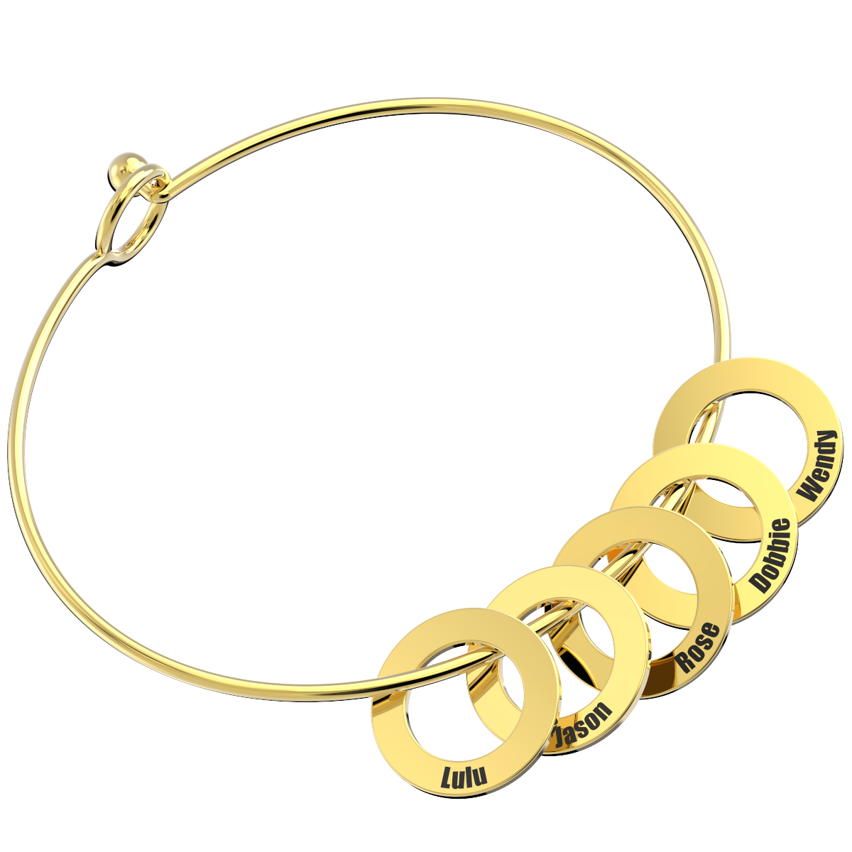 Bangle Bracelet With Round Shape Pendants