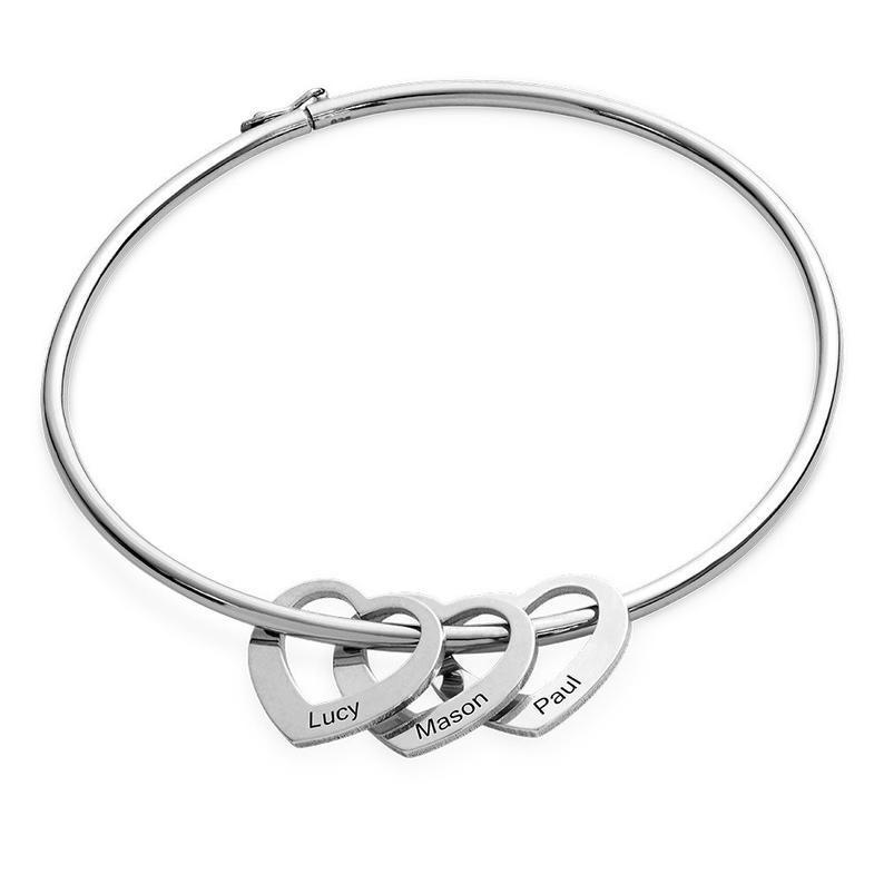Women Bangle Bracelet with 3 Heart Pendant Engraved 3 Names Love Bracelet