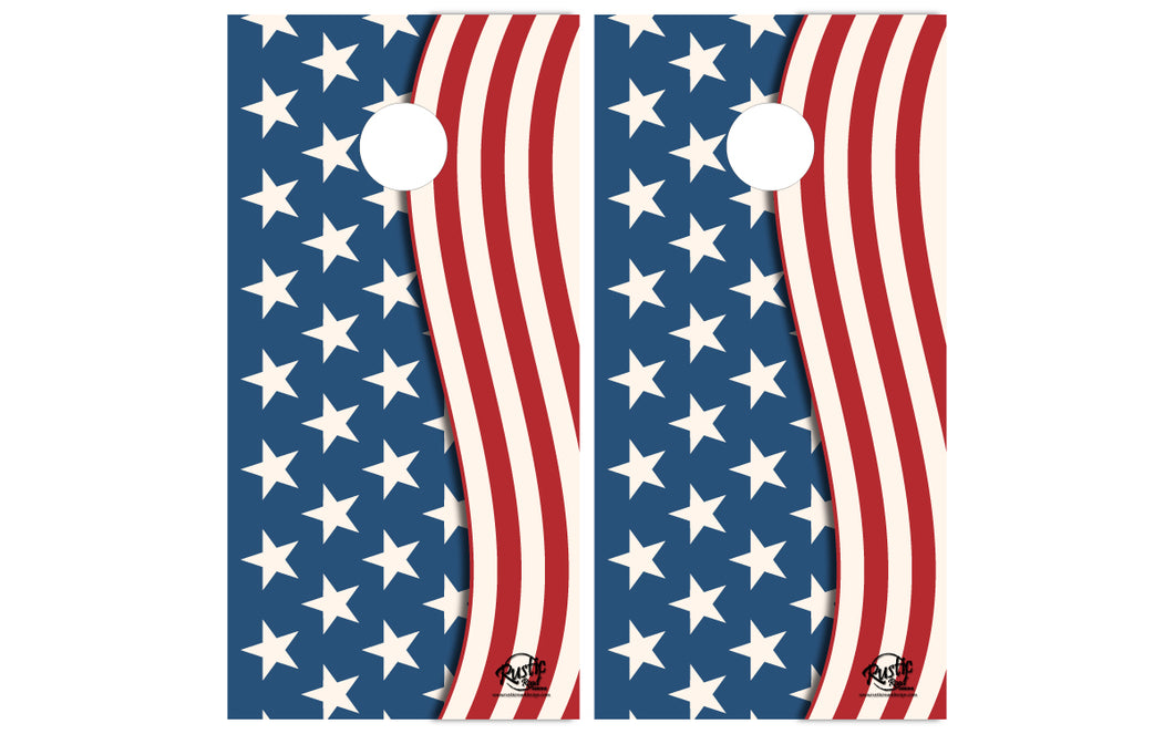 American Flag Wave Cornhole Wrap
