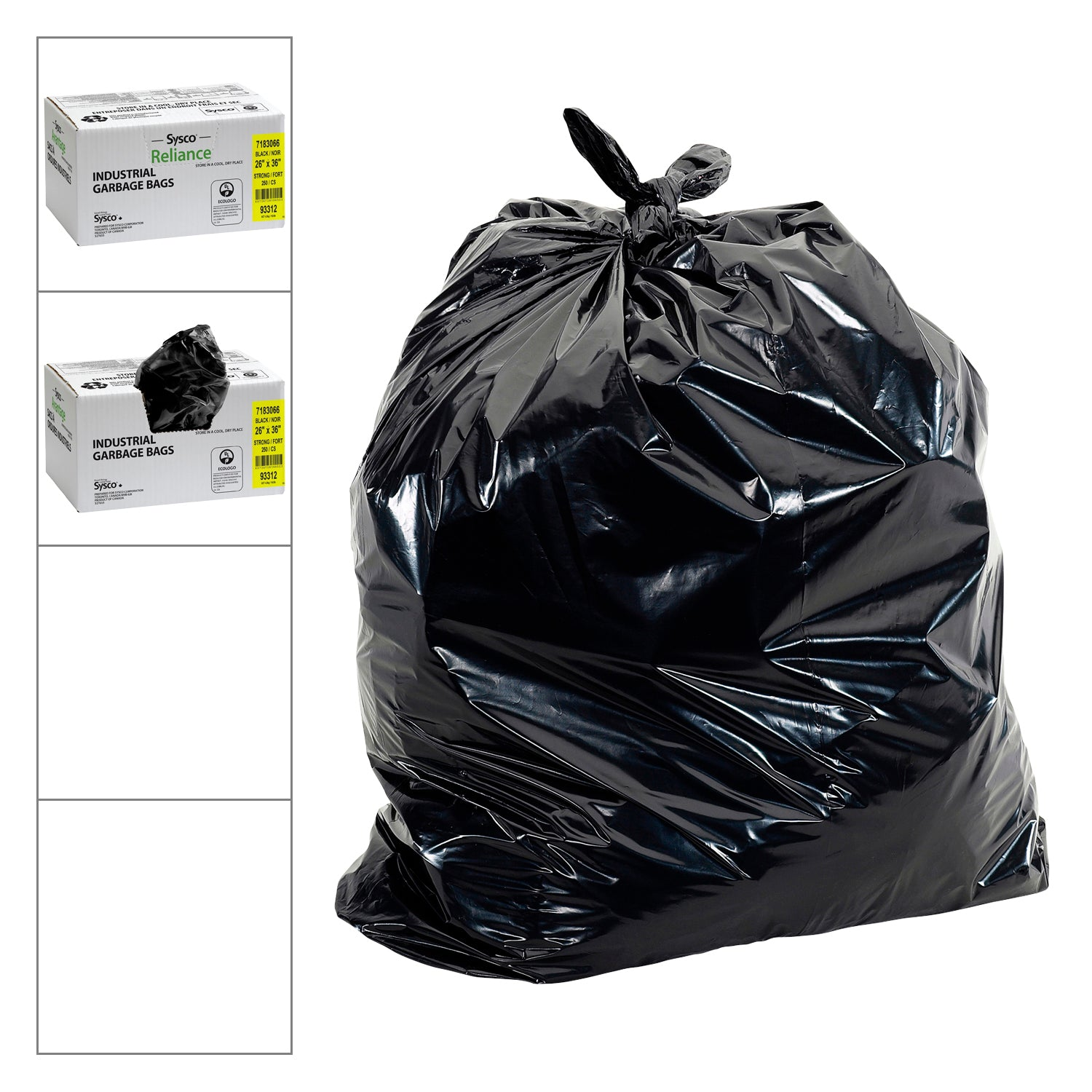 "Sysco Reliance Black Garbage Bags 26""x36"" - 250 Pack [$0.14/bag]"