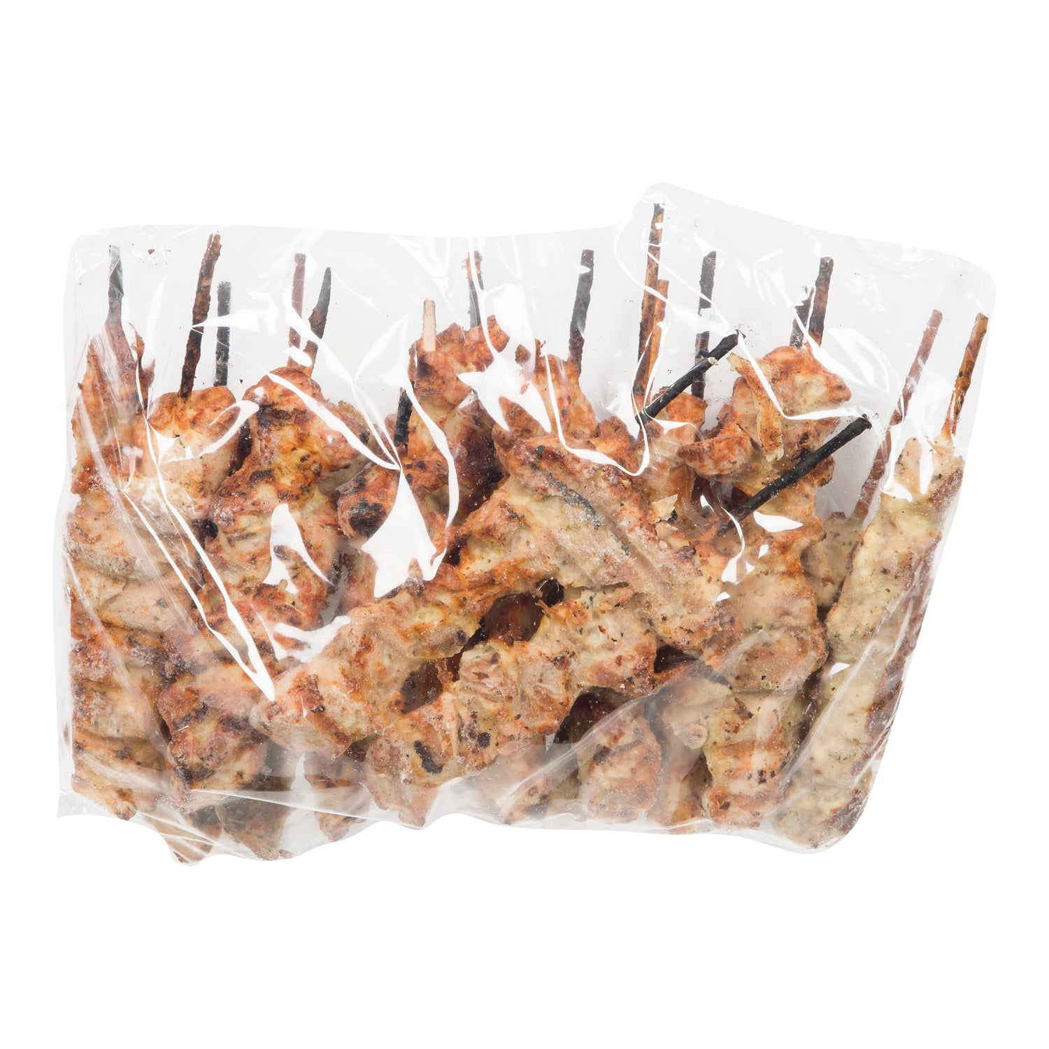 Sysco Classic Frozen Fire Grilled Chicken Thigh Skewer 76 g - 36 Pack [$2.22/each]