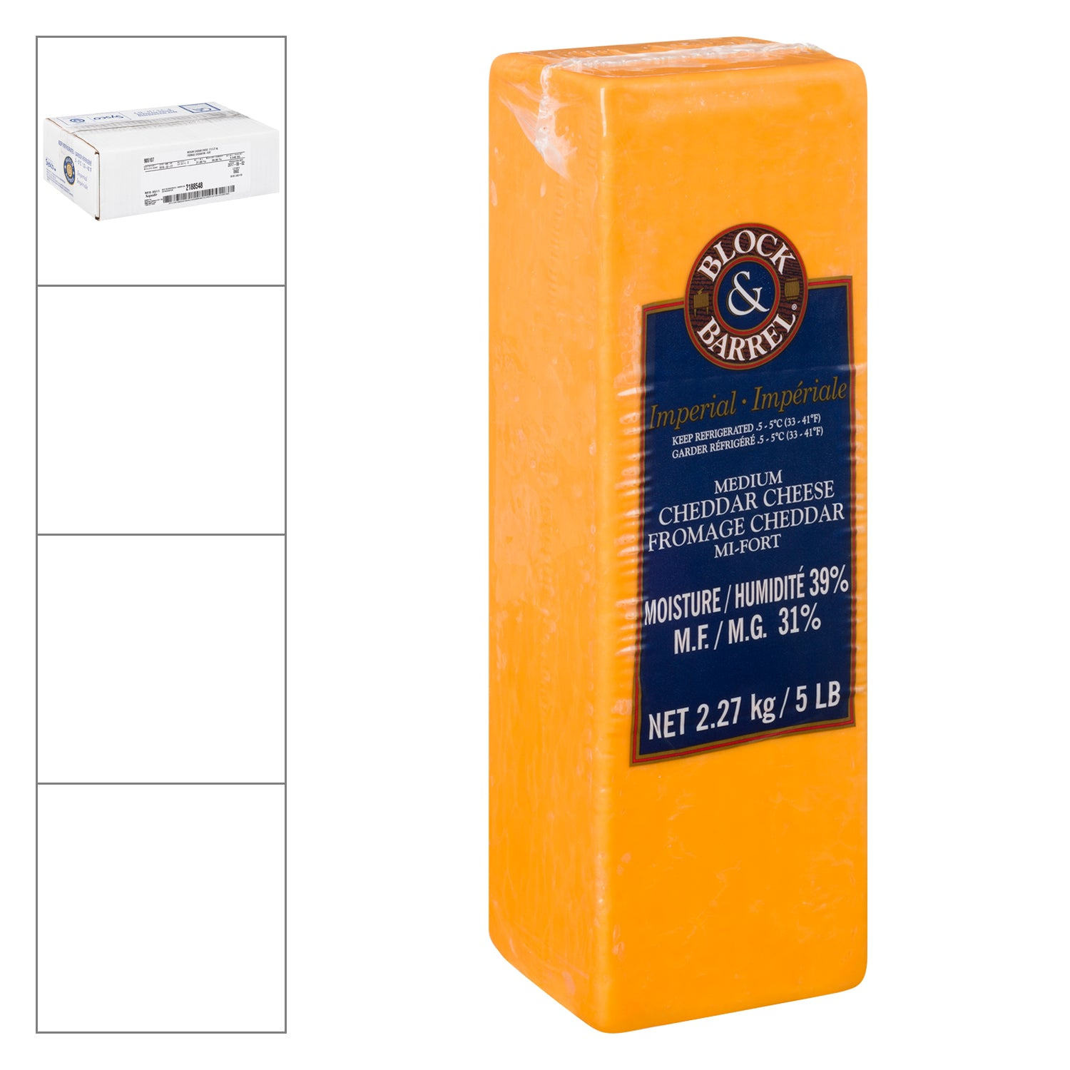 Sysco Block & Barrel Medium Cheddar Cheese 2.27 kg - 2 Pack [$16.52/kg]