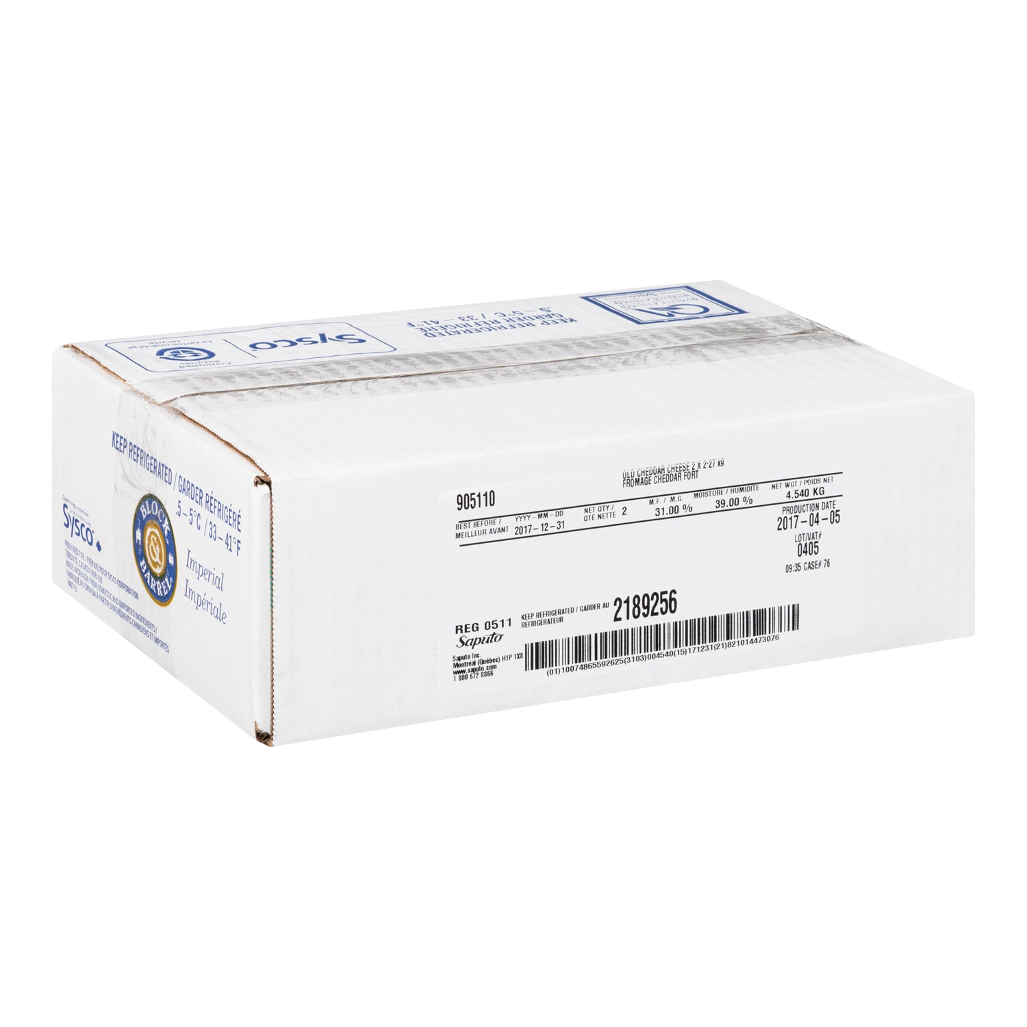 Sysco Block & Barrel Old Cheddar Cheese Block 2.27 kg - 2 Pack [$17.07/kg]