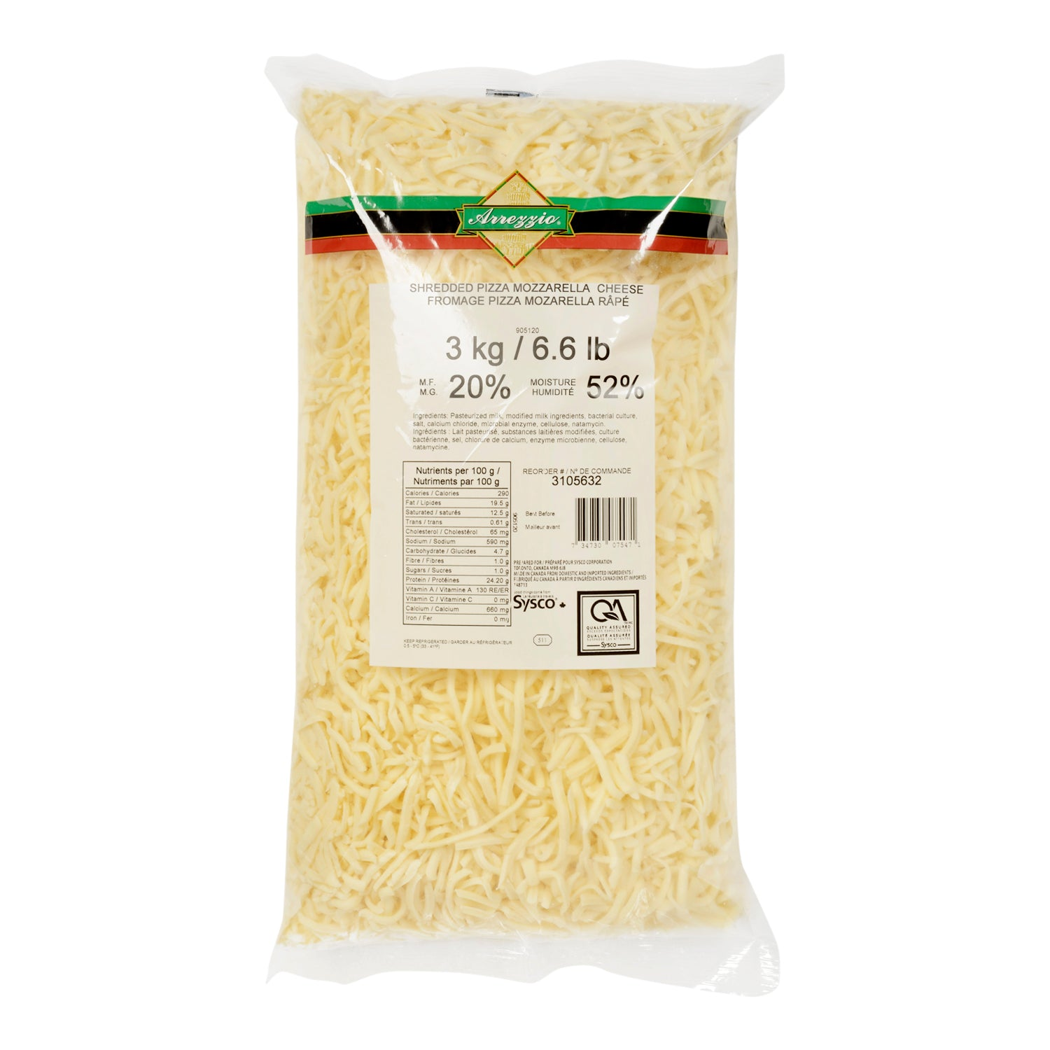 Arrezzio Shredded Pizza Mozzarella Cheese 20% M.F. 3 kg - 2 Pack [$13.83/kg]