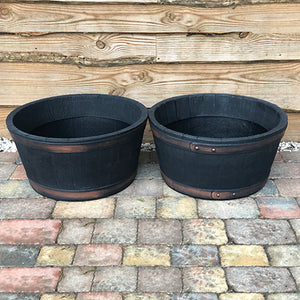 Half Barrel Whiskey Planter Pair