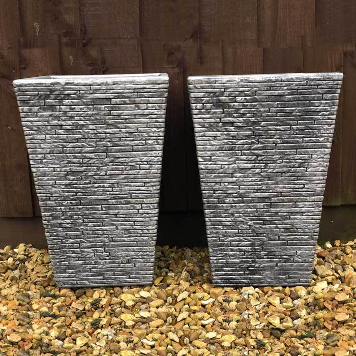 Slate Effect Planter Pair