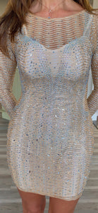GOLD SPARKLE LONG SLEEVE DRESS