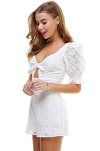 OFF WHITE EYELET CUTOUT ROMPER