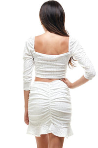 WHITE EYELET RUCHED TOP WITH RUCHED MINI SKIRT