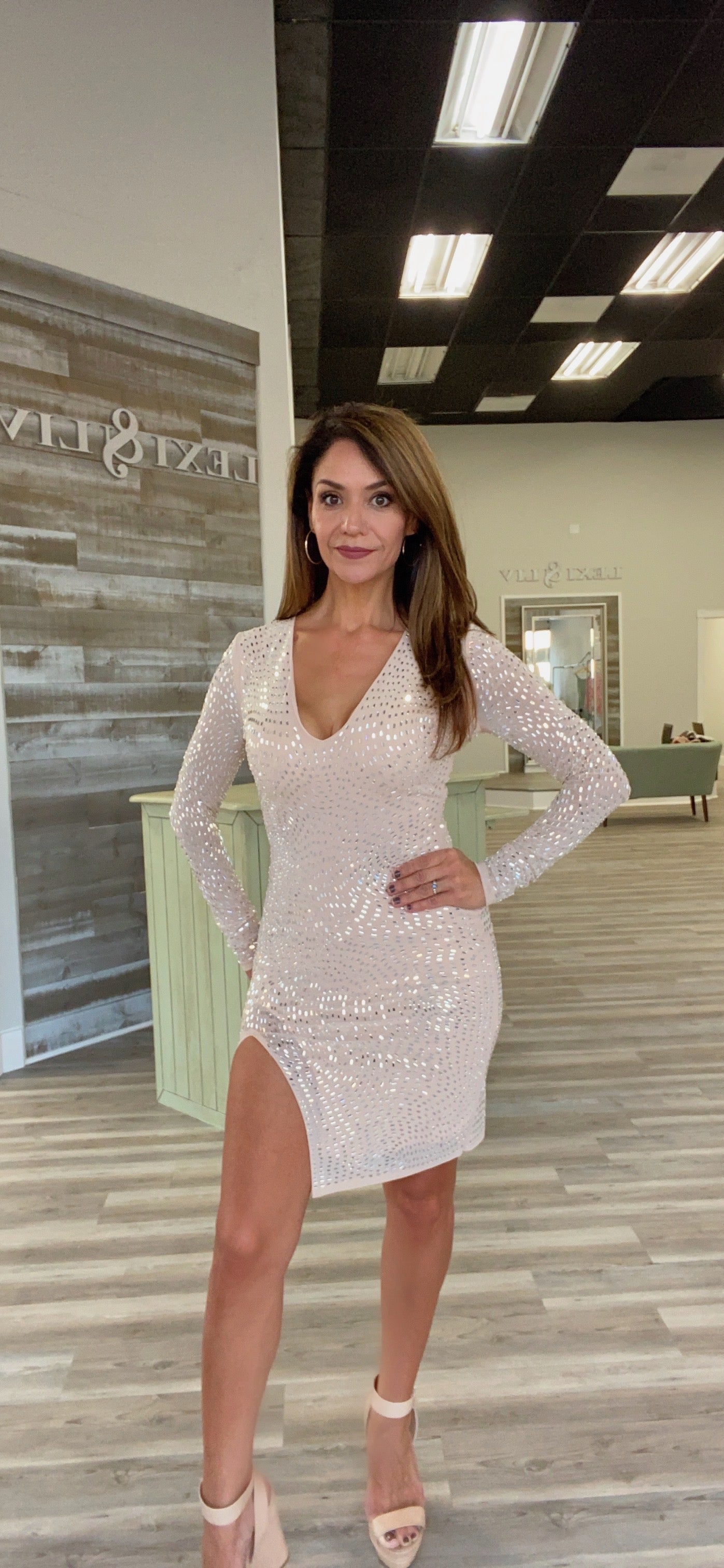 BLUSH/SILVER SPARKLE LONG SLEEVE SHORT SLIT FORMAL DRESS