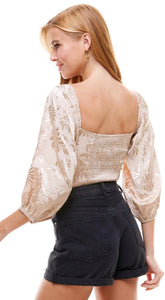 CHAMPAGNE SATIN TWIST FRONT TOP