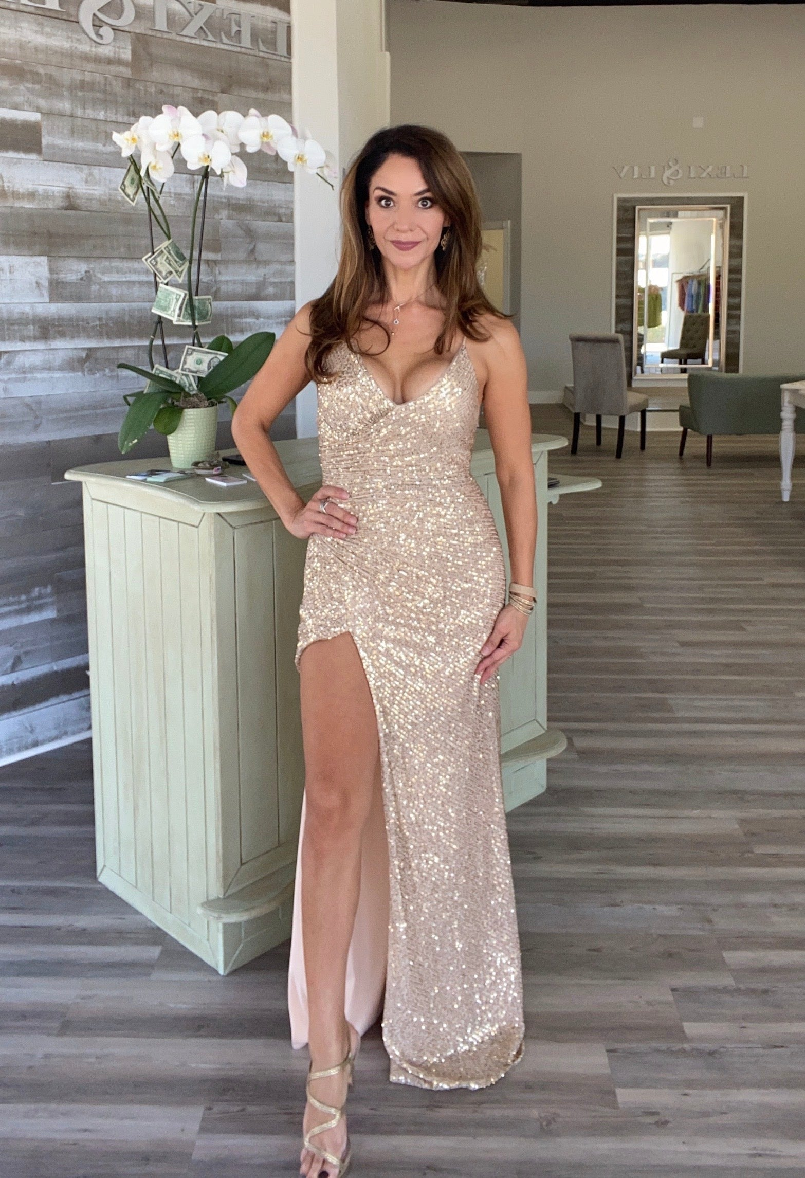 GOLD CHAMPAGNE FORMAL LONG SLIT DRESS