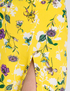 YELLOW PURPLE FLORAL MINI SKIRT