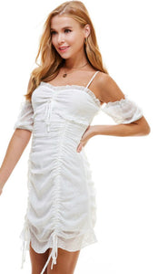 WHITE FRONT RUCHED RUFFLE MINI DRESS