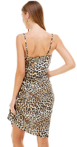SEXY ANIMAL PRINT RUSHED SLIP DRESS