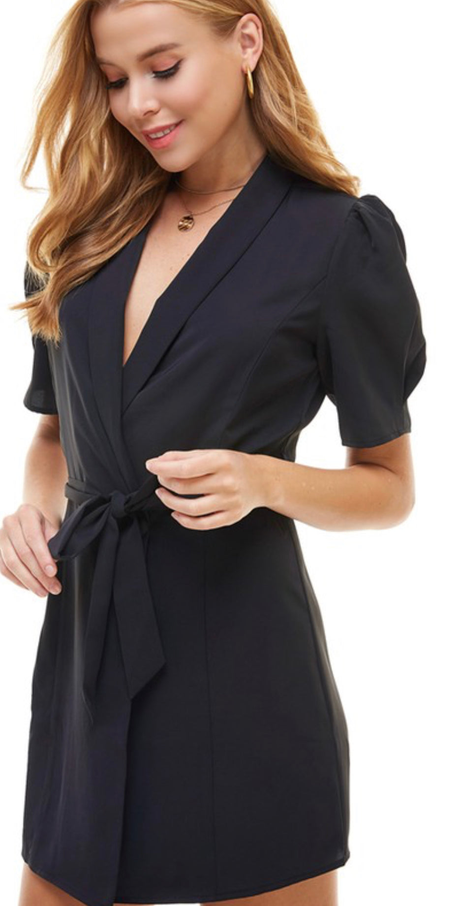BLACK PUFF SHORT SLEEVE BLAZER DRESS