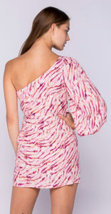 PINK BERRY ONE SHOULDER MINI DRESS