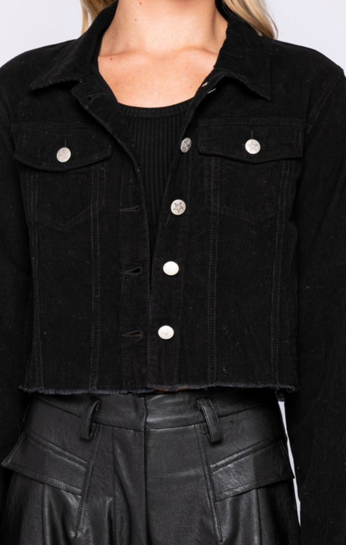 Black Corduroy Crop Jacket