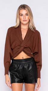 KNITTED FRONT WRAPPED CROP SWEATER