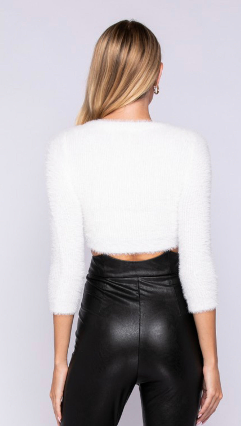 IVORY FURRY CROP SWEATER