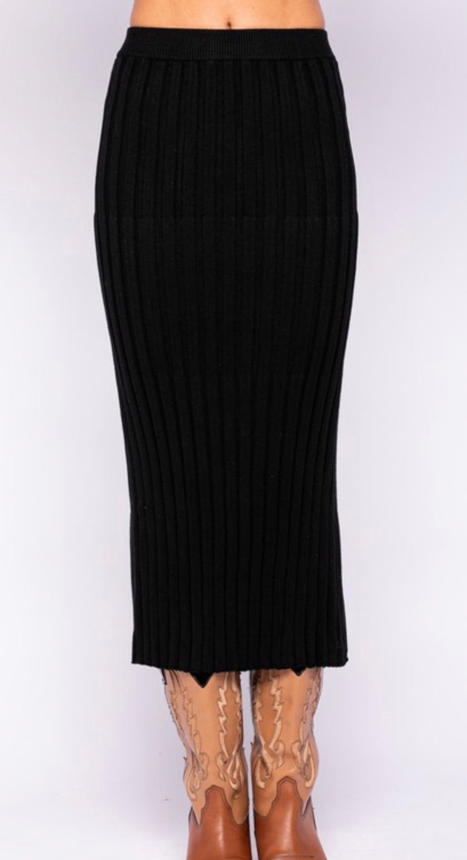 BLACK SLIT LONG SKIRT