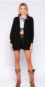 BLACK 3/4 SLEEVE POCKET CARDIGAN