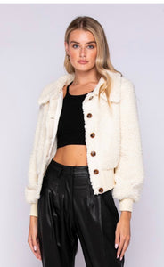 IVORY BUTTON DOWN CROP JACKET