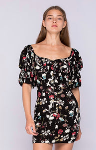 BLACK RED FLORAL DRESS