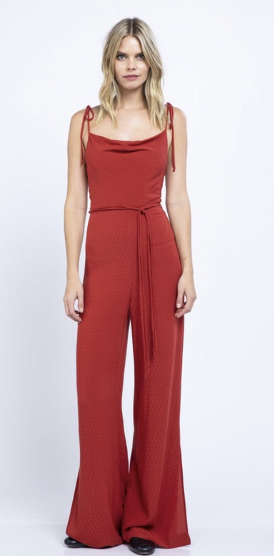 JACQUARD SLEEVELESS TIED JUMPSUIT