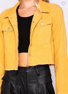 Yellow Corduroy Crop Jacket