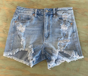 JUST USA HIGH RISE DESTROYED HEM SHORTS