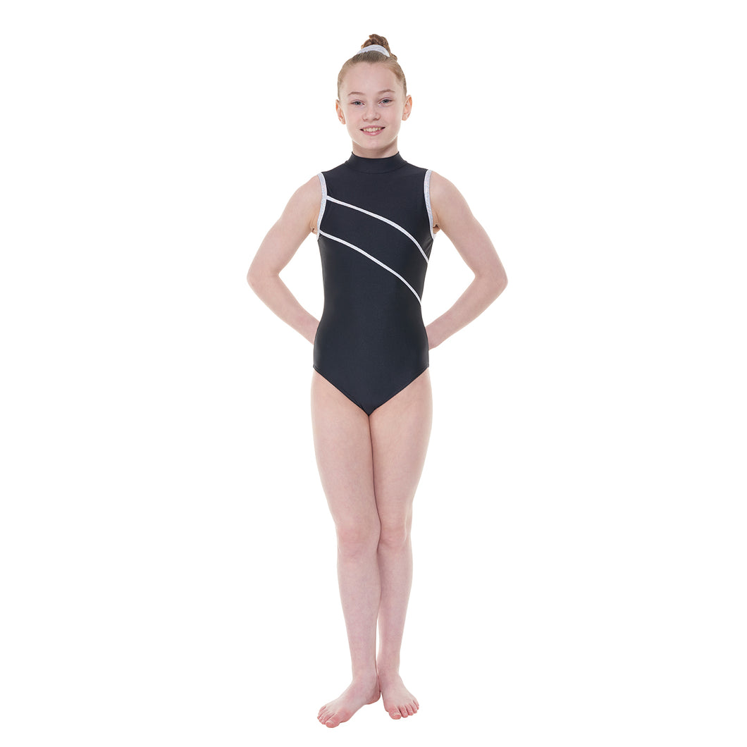 Tappers & Pointers Sleeveless Turtle Neck Leotard With Silver Hologram Trim