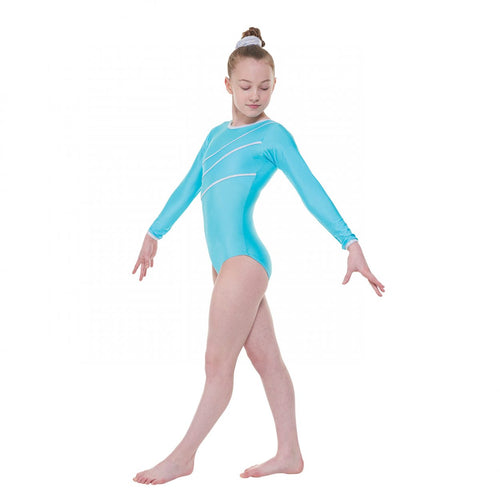 Tappers & Pointers Long Sleeved Leotard With Silver Hologram Trim