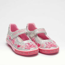 Load image into Gallery viewer, Lelli Kelly TIARA Silver Glitter Canvas Dolly Shoe LK1078