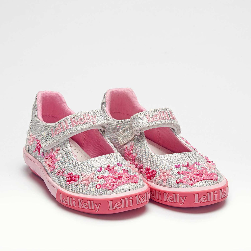 Lelli Kelly TIARA Silver Glitter Canvas Dolly Shoe LK1078