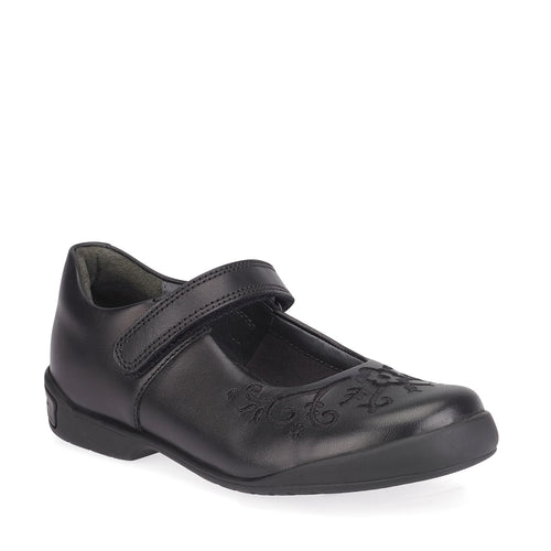 Start-rite HOPSCOTCH Girl's Black Leather School Shoe
